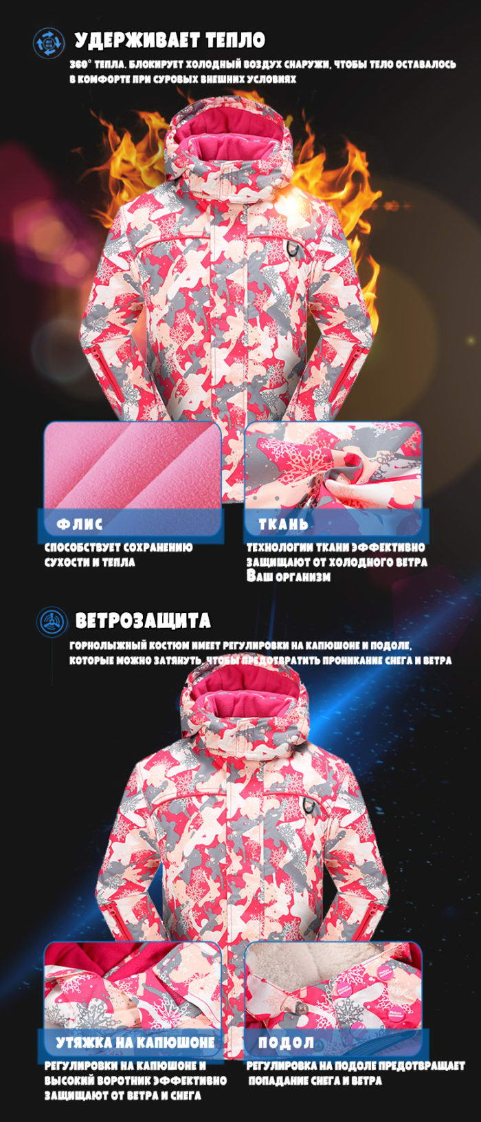 Мембранный зимний костюм для девочки